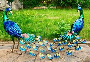 Exotic Blue Peacock Bird Decorative Garden Sculpture Statue Ornament Large 64cm