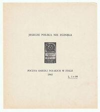 Splendido foglietto francobolli corpo polacco italiano prova di stampa? 1 + 99