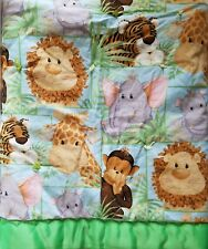 Baby Blanket Quilt Comforter Jungle Safari Animals Reversible Green Trim EUC