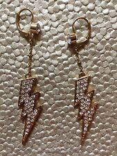 Authentic Betsey Johnson Vintage Crystal Lightning Bolt Fly With Me Earrings