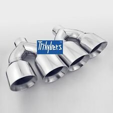 """Dual 4"""" round Outlet / Single 2.5"""" Inlet Exhaust Tips 12"""" long Stainless Steel"""