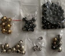 Large Lot Black Silver Gold Rhinestone Metal Lined BEADS Pieces Jewelry Making