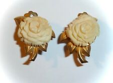 VINTAGE - FAUX-IVORY MOLDED LUCITE FLOWERS - CLIP-ON EARRINGS