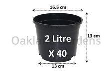 40 X 2 Litre Plant Pots Strong Plastic Black Flower Pot L LT High Quality