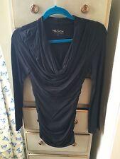 Me & Em Black Ruched Side Cowl Neck Top, Size S, WORN ONCE
