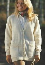 "Ladies Easy Knit Classic Cardigan Knitting Pattern 4ply DK Aran Chunky 32-42""715"