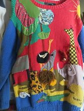 Vintage Sweater with Animals by Raquel of Peru -- Size S