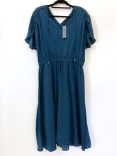NWT Ann Taylor Women's Petite L Blue Cinched Waist Midi Dress LP