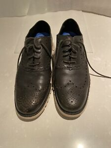 Cole Haan Zerogrand Men's Green Leather Oxford Wingtip Shoes Size 9M preowned