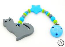 ♥ Beisskette aus Silikon ★ Katze/Stern in türkis/grau/grün - Silikonkette ♥