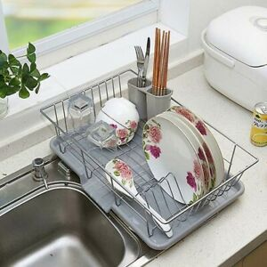 Metal Dish Drainer Kitchen Utensils Plate Cutlery Drying Rack Holder 48 x 30 cm