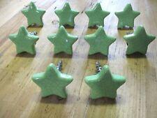 20 Green Ceramic Knobs Kitchen Cabinet Pulls Vintage Dresser Stars Fun Bedroom