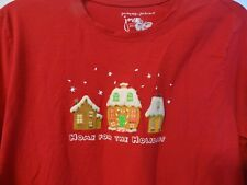 CHRISTMAS JUST MY SIZE PJ' TOP ONLY WOMENS 1X-1XG 16W HOME FOR THE HOLIDAYS