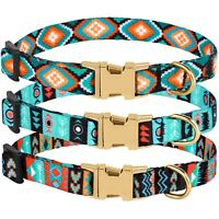 Nylon Dog Collar Adjustable Pet Collars for Small Dogs Puppy Cat Tribal Pattern