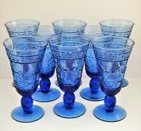 VINTAGE MIKASA GLASS BLUE STUDIO NOVA SET OF 8  FOOTED TUMBLERS GOBLETS