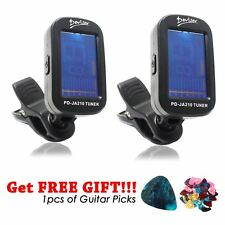 2pcs of LCD Clip-on Electronic Digital Guitar Tuner Chromatic Bass Violin UK