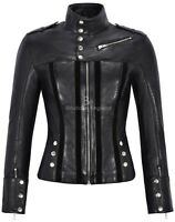 Ladies Suede Leather Jacket Black Fashion Biker Style   SOFT REAL LEATHER 4520