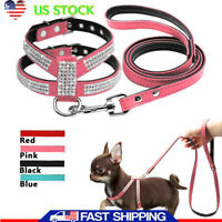 Bling Rhinestone Pets Dog Collars and Leads Leash for Small Medium Dog Puppy S-L