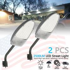 2 x LED Street Light 2500LM Dusk to Dawn Sensor Outdoor Waterproof Security US