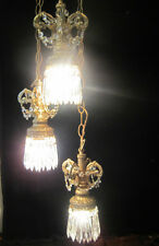 Hollywood Regency Vintage hanging Swag lamp chandelier spelter brass metal cryst
