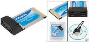4 Port PCMCIA USB 2.0 Karte Cardbus Porterweiterung Laptop Adapter Steckkarte
