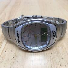 New Reebok Indiglo Mens 50m Steel Analog Digital Alarm Chrono Quartz Watch Hours