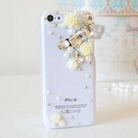 3D Flower Luxury Bling Gem Diamond Crystal Case Cover For iPhone 5C SE 5S