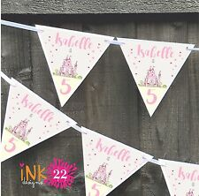Personalised 1st, 2nd, Birthday Girl Party Banner Bunting Pink Princess Castle