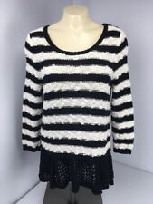 KNITTED AND KNOTTED Anthropologie Sz M Striped black white hi-lo ruffle hem EUC