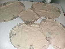 New listing 4 Oval Placemats 4 Square Napkins Ivory Gray Embroidered Floral Cutout