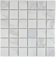Mosaik Fliese Keramik weiß Carrara Fliesenspiegel Bad 14-0102_b