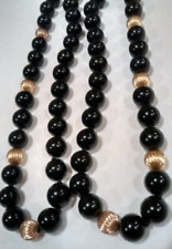 "Black Onyx Necklace 16"" Smooth Beads w/ 14kt Gold Filled Clasp -- 8mm 3-1 Ratio"