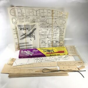 "20-1/2"" '29er Rubber Powered Balsa Wood Free Flight Model Airplane Kit SIG FF-21"