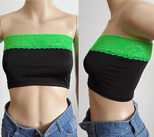 NEW Sexy Womens Contrast Color GREEN Lace Black Bodycon Bandeau Tube Top Tee 2XL