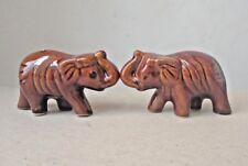 Lot 2 Vintage Style Glazed Ceramic Elephants Small Figurines