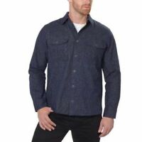 New! Men's Freedom Foundry  Chamois Button Down Flannel Shirt, Navy Heather L