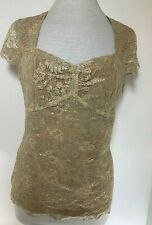 Ann Taylor Womens Top - Sparkly Gold Lace Overlay Short Sleeve Dressy UK 12-14