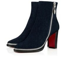 Christian Louboutin Telezip 85 Marine Blue Black Ankle Zip Block Heel Boot 36.5