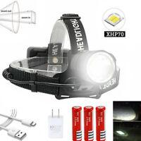 Hell XPH70 LED USB Stirnlampe Kopflampe Suchscheinwerfer 3*18650 Taschenlampe N