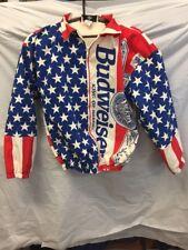 RARE Anheuser Busch ISSUED Authentic Budweiser Jacket Sz Med USA FLAG ykk