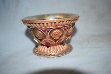 Teeschale,Tibet, 8 buddhistische Embleme, silbermontiert, Rubine/Smaragde, 114mm