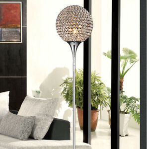 "D10"" x H66"" Crystal Living Room Floor Lamp Modern Chrome Bedroom Floor Lights"