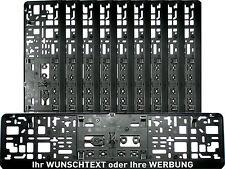 10 x ! Kennzeichenhalter mit WUNSCHTEXT KURZ 46 cm Nummernschildhalter 460 mm
