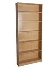 Maine 5 Shelf Tall Bookcase Beech CD DVD Stand Books Shelves Wooden Unit Rack