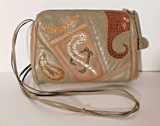 Vtg. Sharif Taupe Leather Modern Swirl Design Snakeskin Shoulder Bag Purse