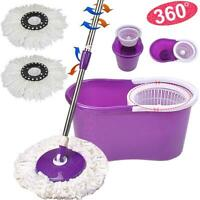 BLL-19A 360 Rotating Magic Mop Microfiber Two Head Bucket Spinning Purple
