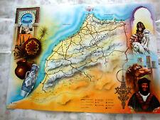 CARTE MAP AFFICHETTE MAROC. ancien Dépliant Illustrateur R. RAVIER.