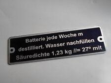 Typenschild Schild Fendt Traktor oldtimer Batterie jede Woche Hinweisschild S6