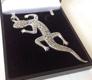 "Vintage Design 3"" long Sterling Silver Marcasite Lizard pendant Statement Gheko"