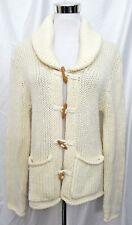 Moda Intl Victoria's Secret Cardigan Sweater Chunky Toggle Jacket Cream Medium